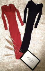 Long Sleeves Ribbed Dress
